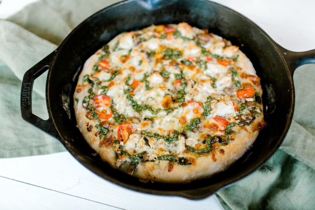 Pesto Chicken Pizza   read more at happilythehicks.com