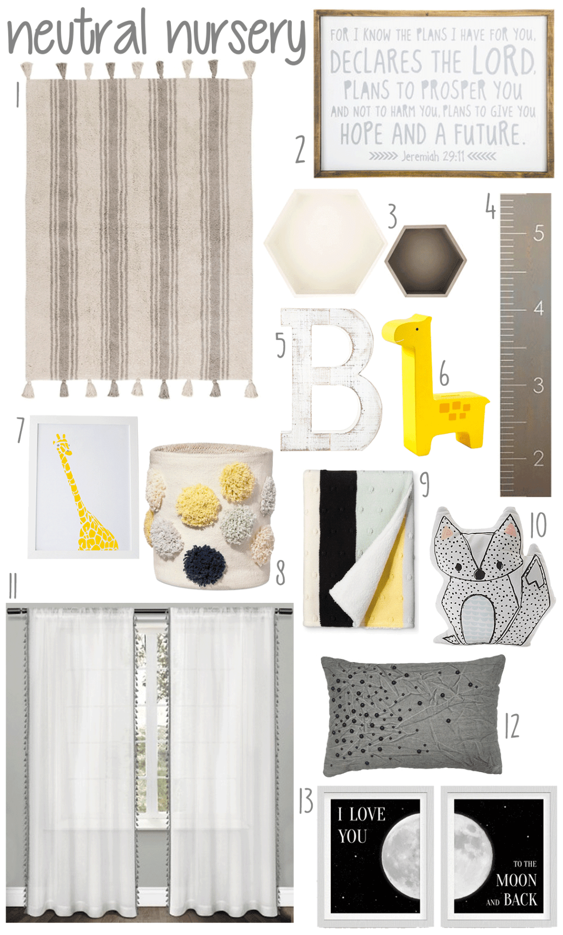 Neutral Gray and Yellow Baby Nursery