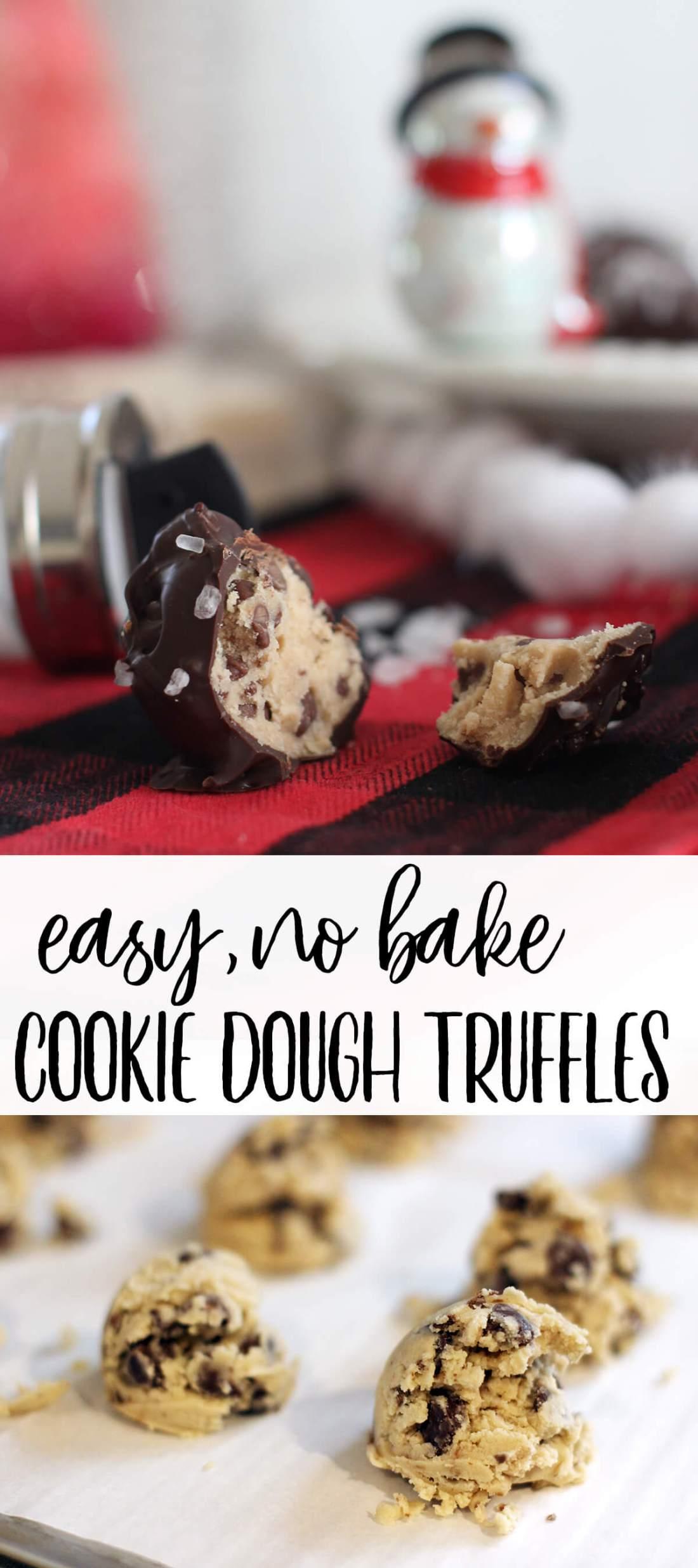 Easy, No Bake, Chocolate Chip Cookie Dough Truffles
