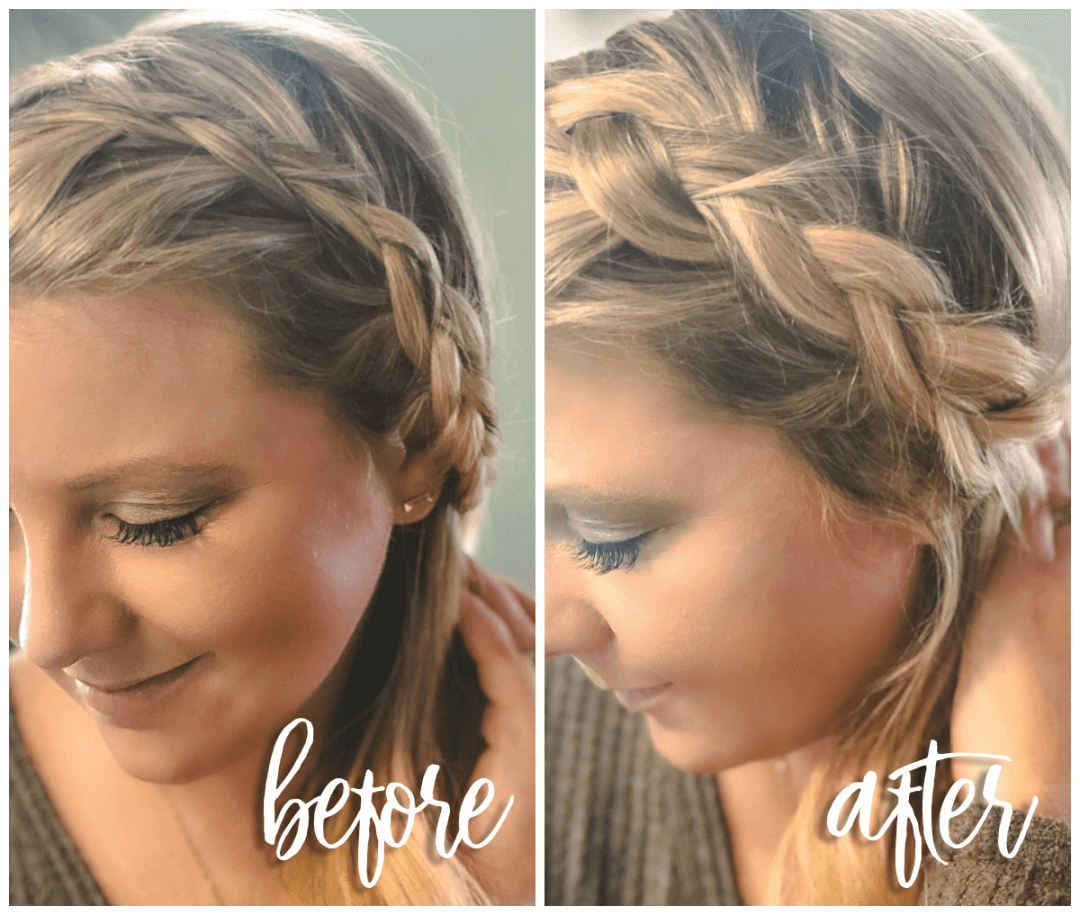 before and after dutch braid