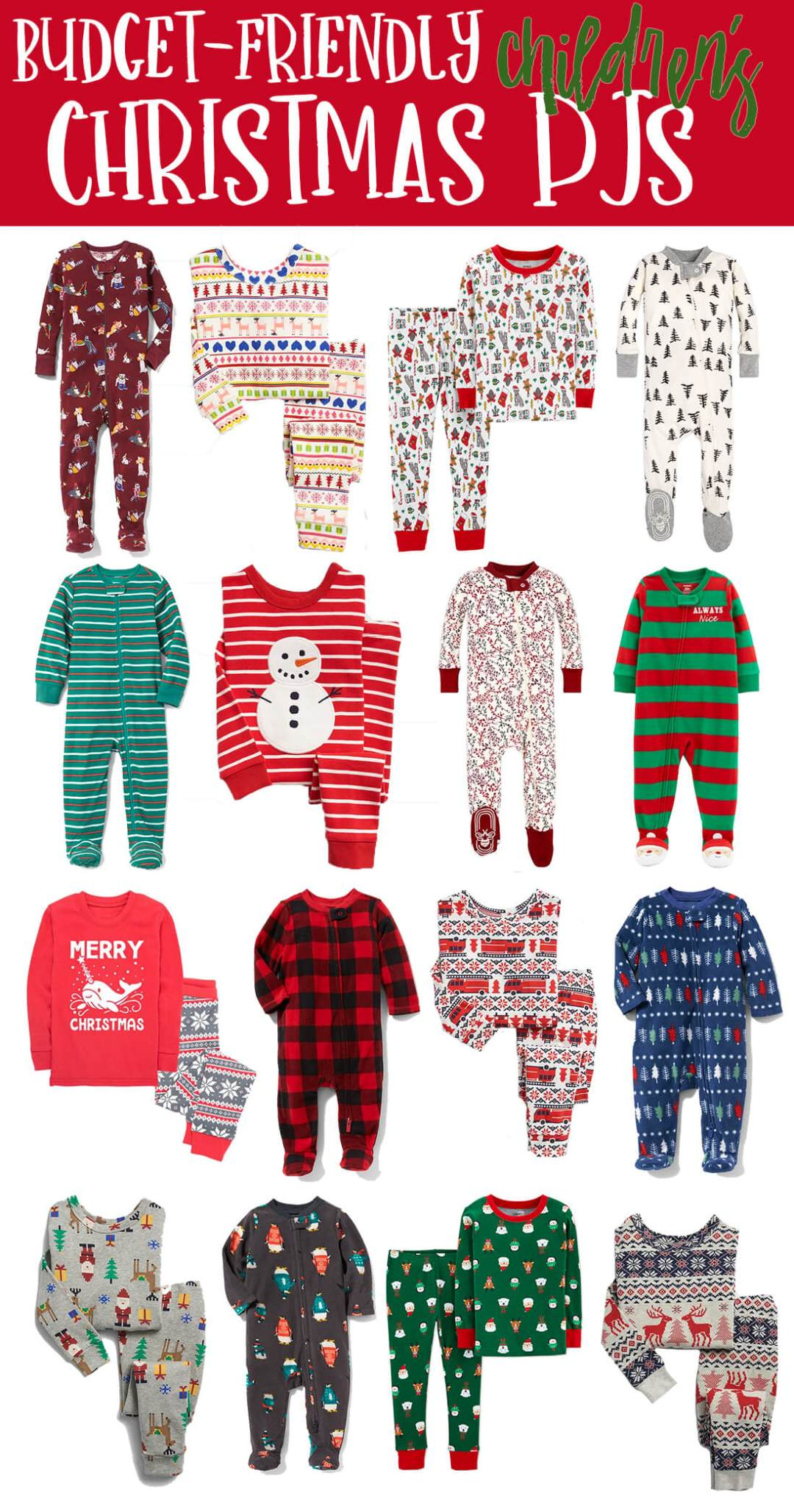 Budget Friendly Children's Christmas Pajamas