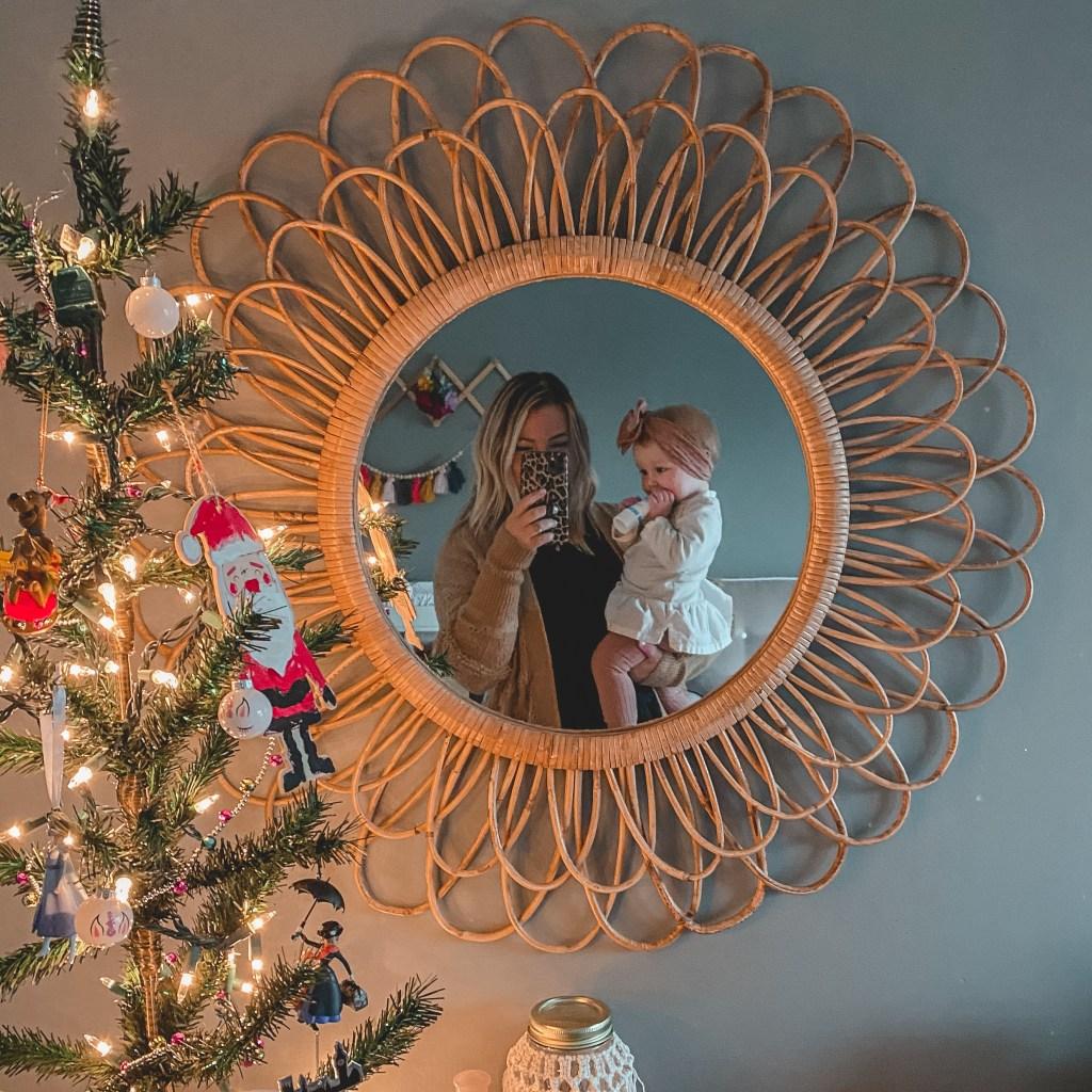 baby girl nursery rattan floral mirror