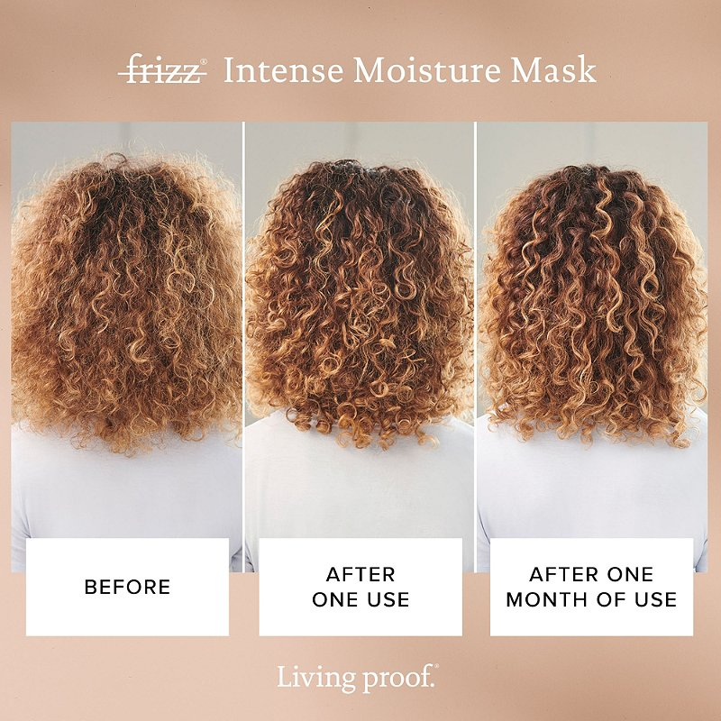 Living proof No Frizz Intense Moisture mask voor en na