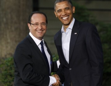 François Hollande et Barack Obama à Camp David. REUTERS/Larry Downin