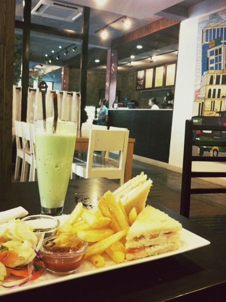 """Clubhouse Sandwich + Green Tea Frappe"" - Cafe Namu"