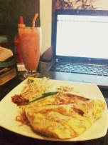 """Pad Thai + Thai Iced Tea with Milk"" - Champei Cafe"