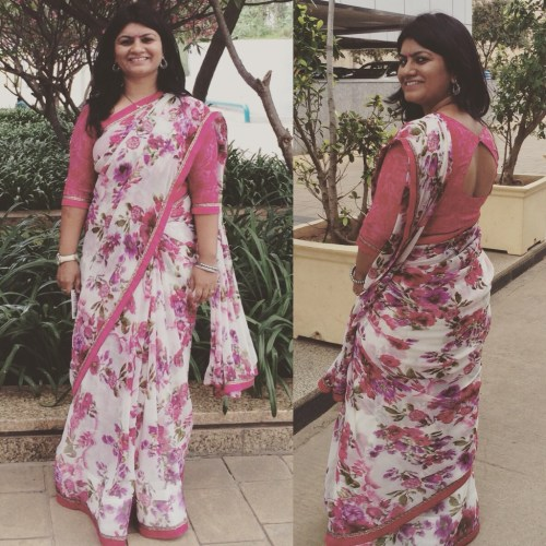 A Triveni Ethnic Saree and the sticthed blouse