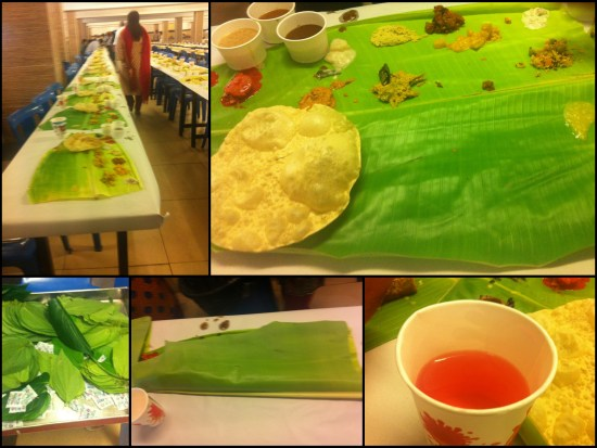 From L-R clockwise: The tables set for community lunch; the Plantain leaf slowly getting filled with food ; the healthy water ; the folded leaf once done ; the betel leaves to end the meal