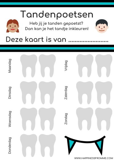 Beloningskaarten tandenpoetsen blauw