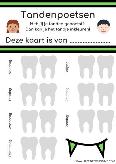 Beloningskaarten tandenpoetsen groen