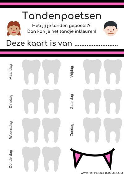 Beloningskaarten tandenpoetsen roze