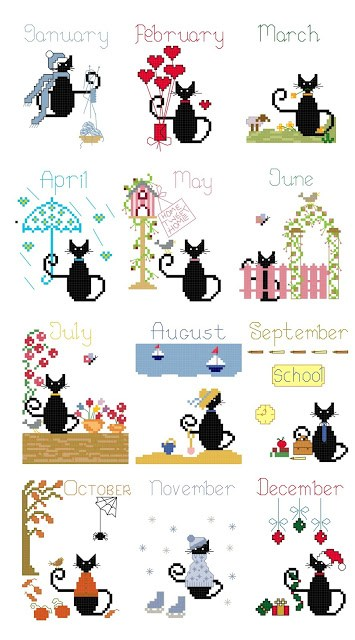 free calendar mini cat cross stitch patterns