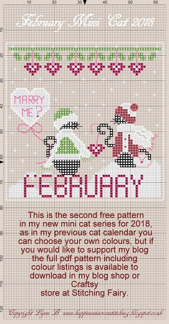 Mini Cat Cross Stitch Patterns, a black cat in the snow wrapped up in hat and scarf and for February Miss Mini Cat joins Mini Cat in the snow.