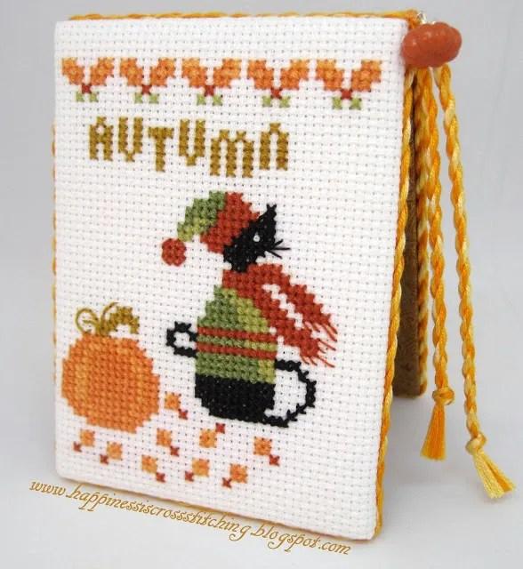 Autumn mini black cat cross stitch pattern