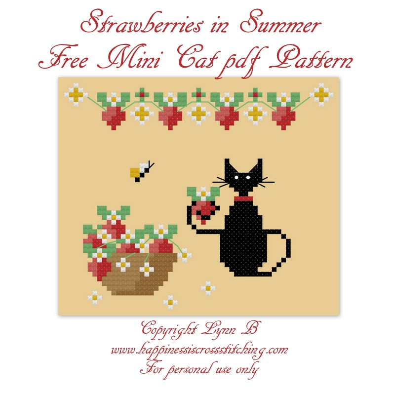 Strawberry mini cat cross stitch pattern