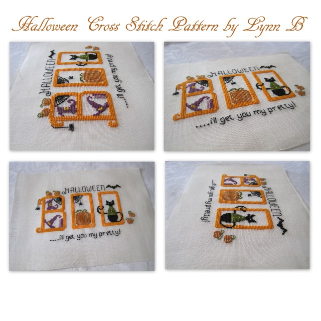 Boo cross stitch pattern for halloween featuring  a black cat, pumpkins and spiders.
