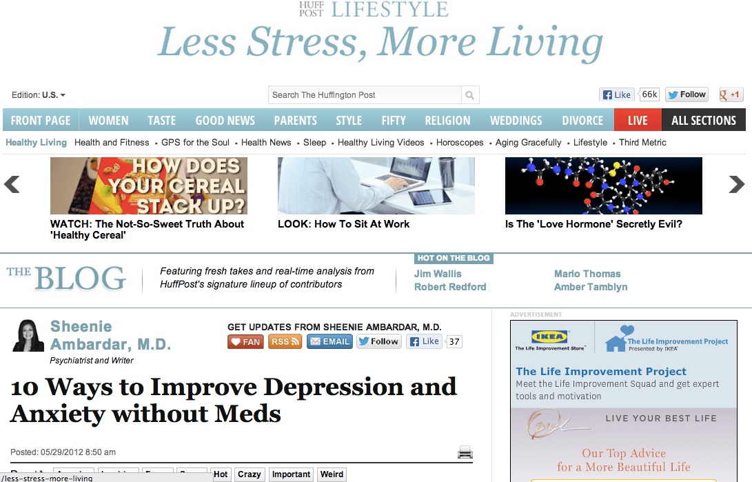 Dr  Ambardar on The Huffington Post: 10 Ways to Improve Depression