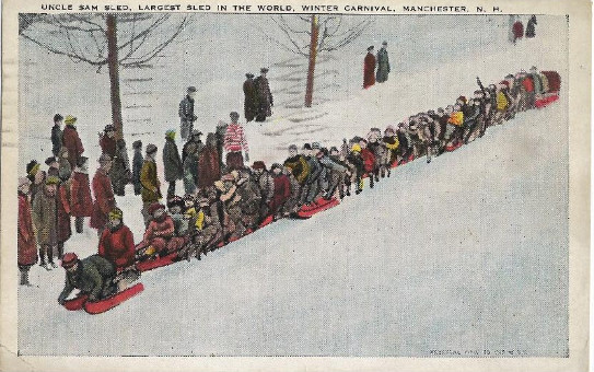 Enter a1924 Postcard of Uncle Sam Sled at the Winter Carnival in Manchester NH