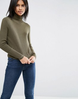 ASOS Khaki High Neck Jumper