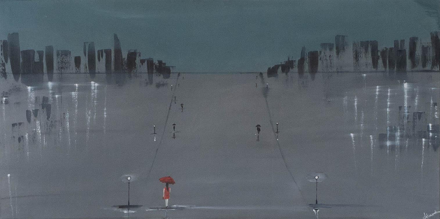 Acrylbild ' Girl In The City' – 160 x 80 cm