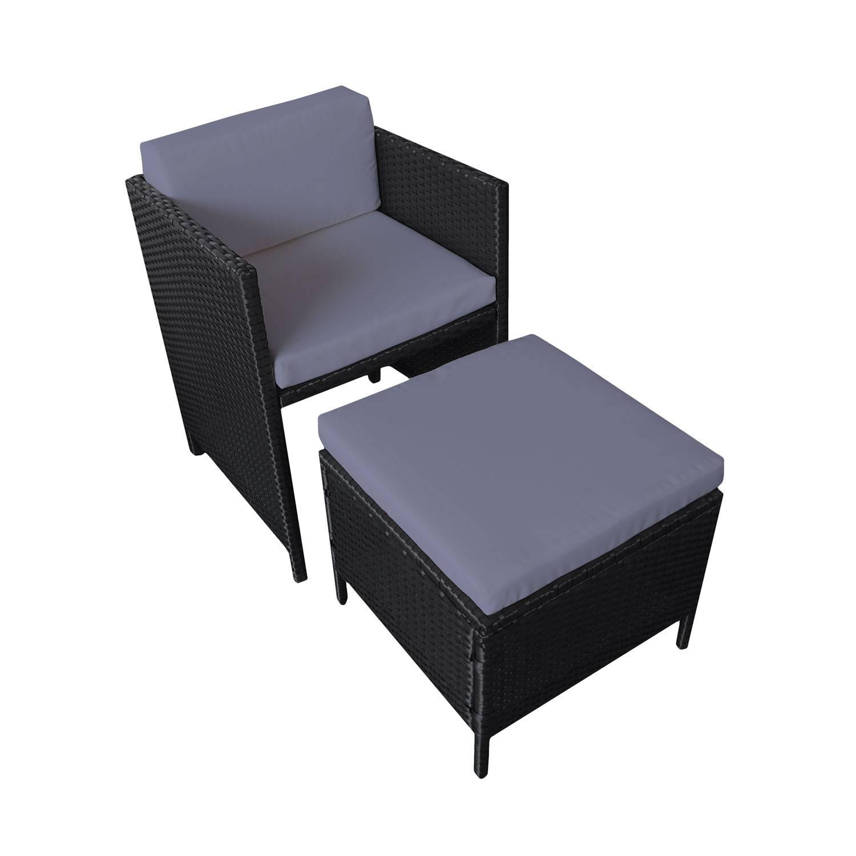 Salon De Jardin Encastrable Résine Tressée Noir 1 Table + 8 Fauteuils