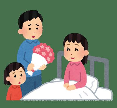甲状腺全摘手術で入院しているお母さんを見舞う家族