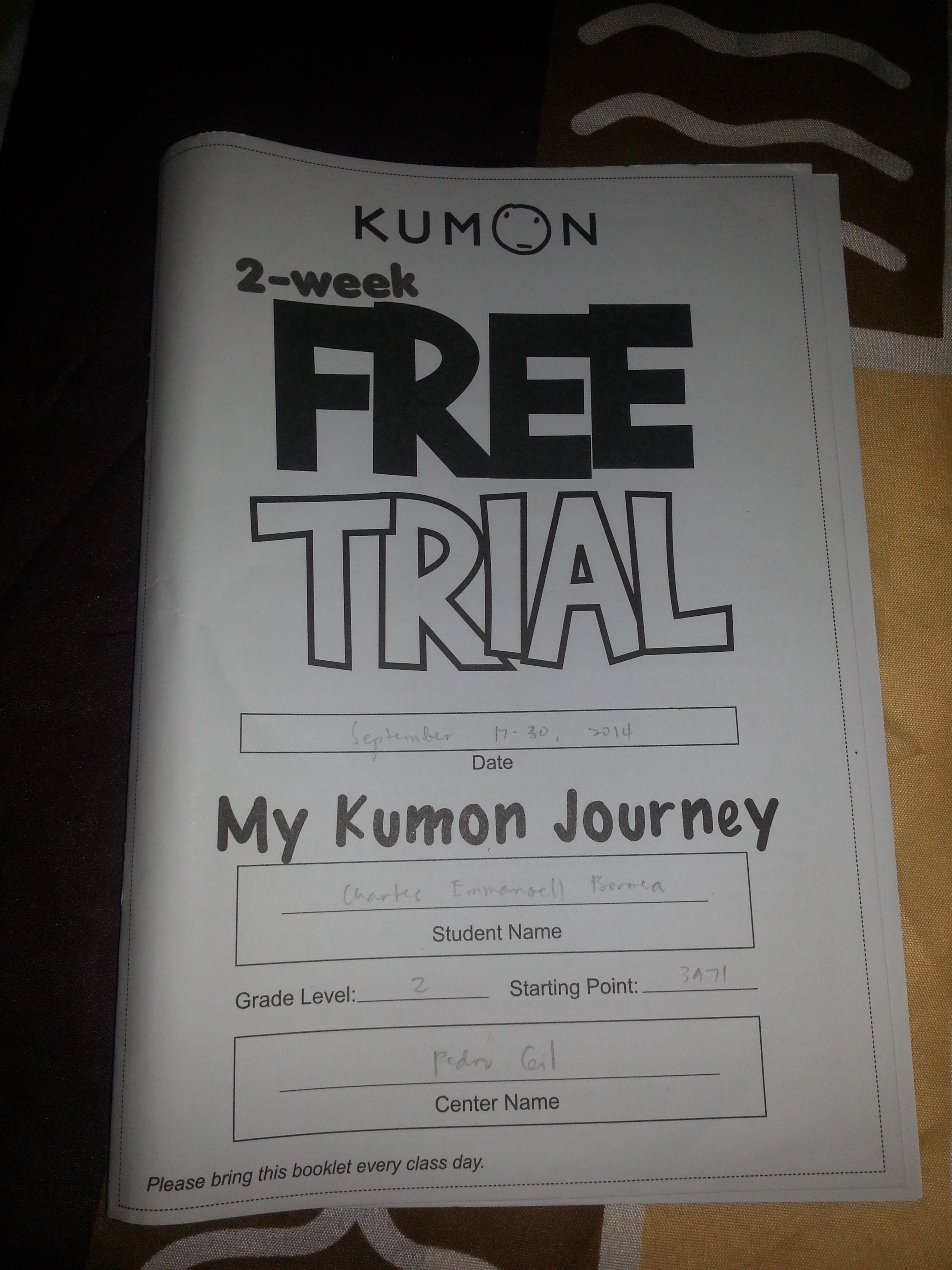 Kumon 2 Week Free Trial Life Of Aci