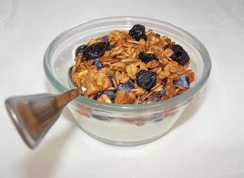 yogurt topped with Blueberry Walnut Granola