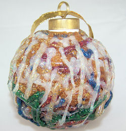 glass ornament with glitter glue, 2008