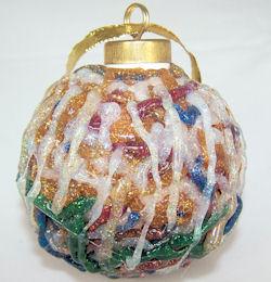 glass ornament with glitter glue, 2008