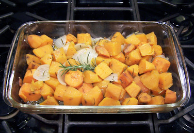 Rosemary Roasted Sweet Potatoes in the oven