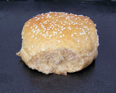whole wheat bun topped with sesame seeds
