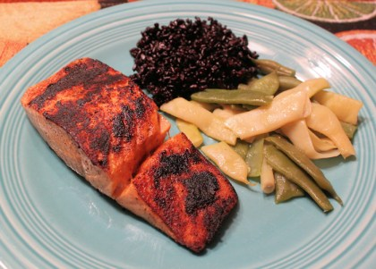Blackened Salmon with Forbidden Rice and green beans