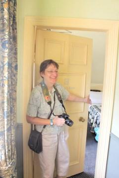 Lynda opening up our door