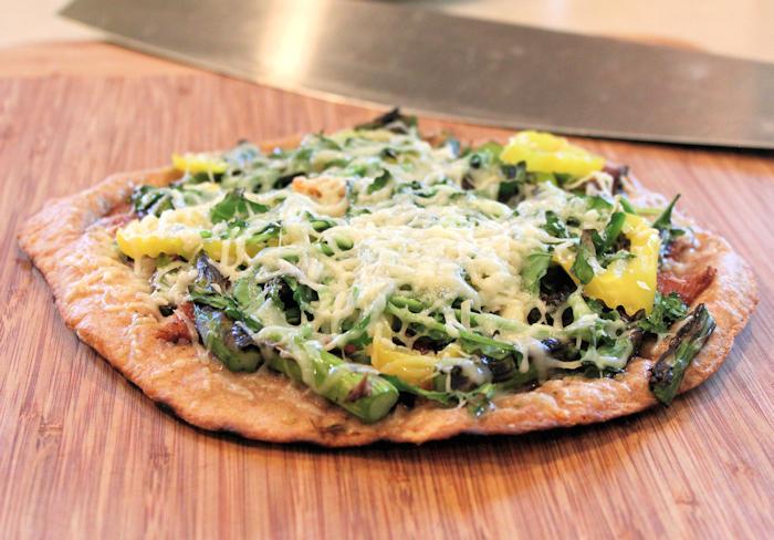 asparagus and arugula pita pizza