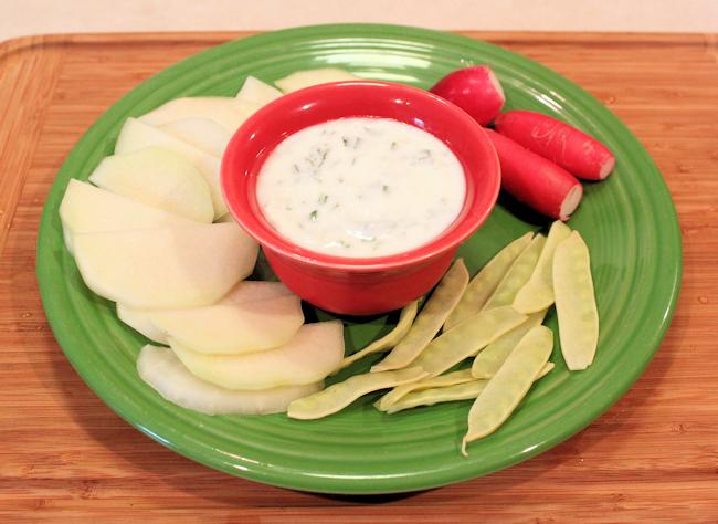 kohlrabi, snow peas and radishes with yogurt herb dip