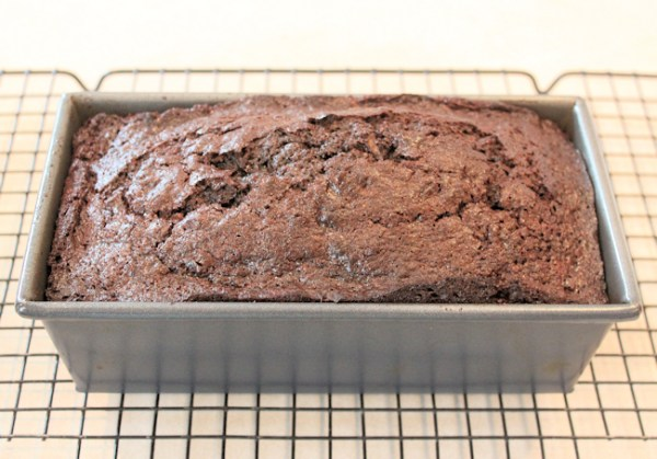 Spelt Chocolate Zucchini Bread, straight from the oven