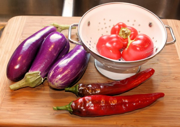 Dancer eggplant along with Alma and Dulce Rojo peppers
