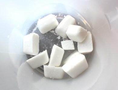 frozen coconut milk before adding lye