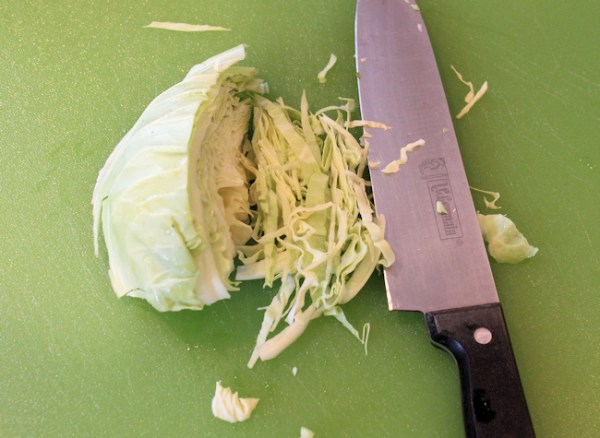 cutting cabbage for sauerkraut