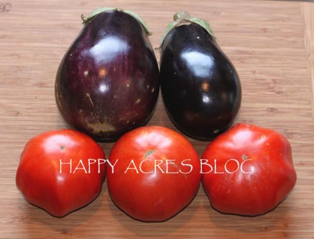 Italian eggplants with Vinson Watts tomatoes