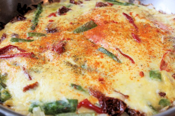 fritatta with asparagus and dried peppers