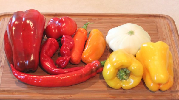 assortment of peppers and squash