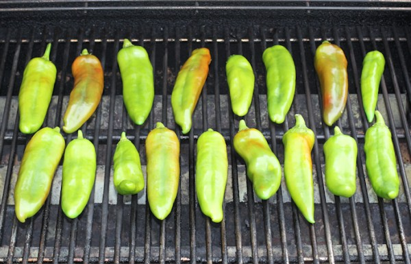 roasting chiles on the grill
