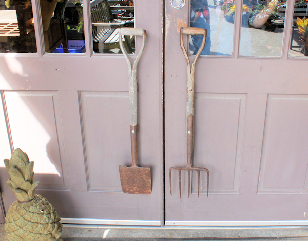 garden tools as handles for garden gift shop