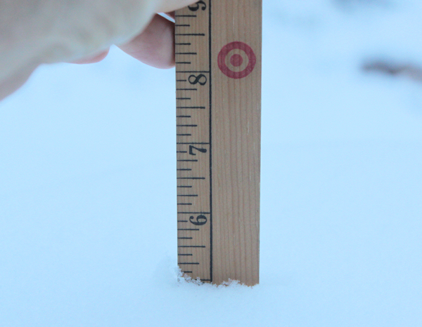 measuring the snow