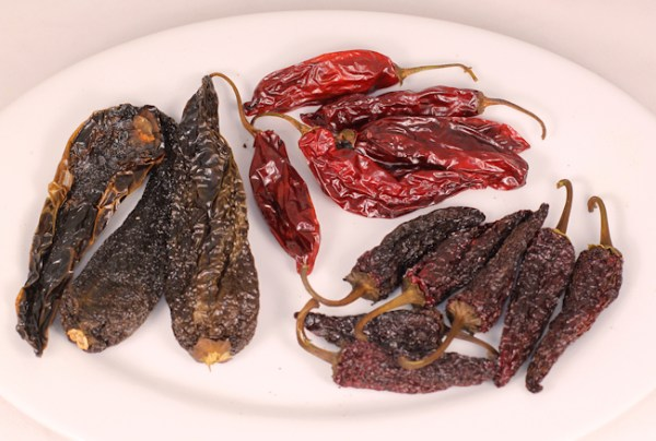 smoked hot peppers (Anaheim, Aji Angelo and jalapeno)
