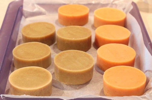 soap cut and ready to cure