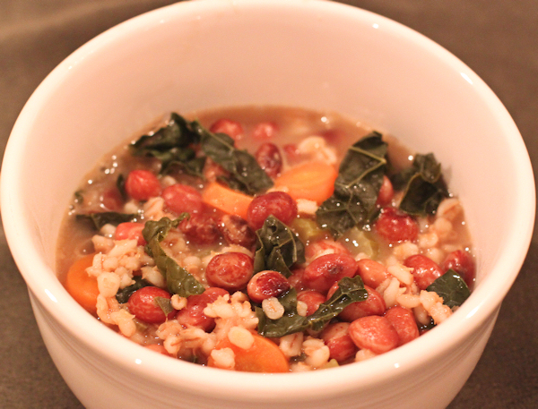 bean and barley soup with kale
