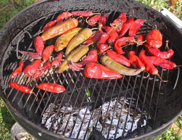 smoking peppers on the charcoal grill